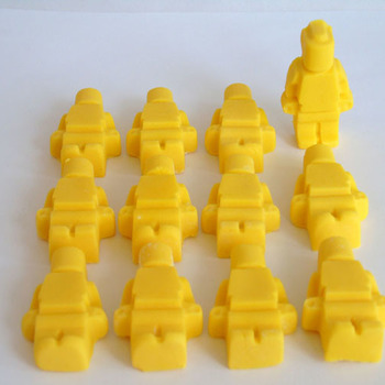 12 Edible Yellow Lego Men Cupcake Toppers