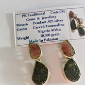 Carved Tourmaline Earrings