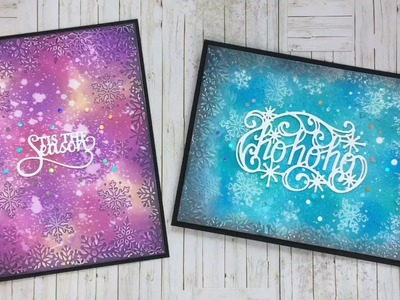 Christmas cards with CE dies & embossingfolder & Distress Oxide background