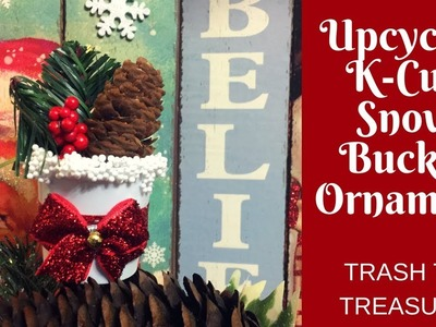 Christmas Crafts: Make an Upcycled K-Cup Snow Bucket Ornament