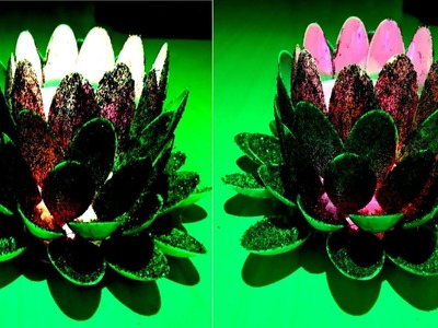 Christmas Special:- How to make Water Flower Shape Lamp with Glitters and Spoons