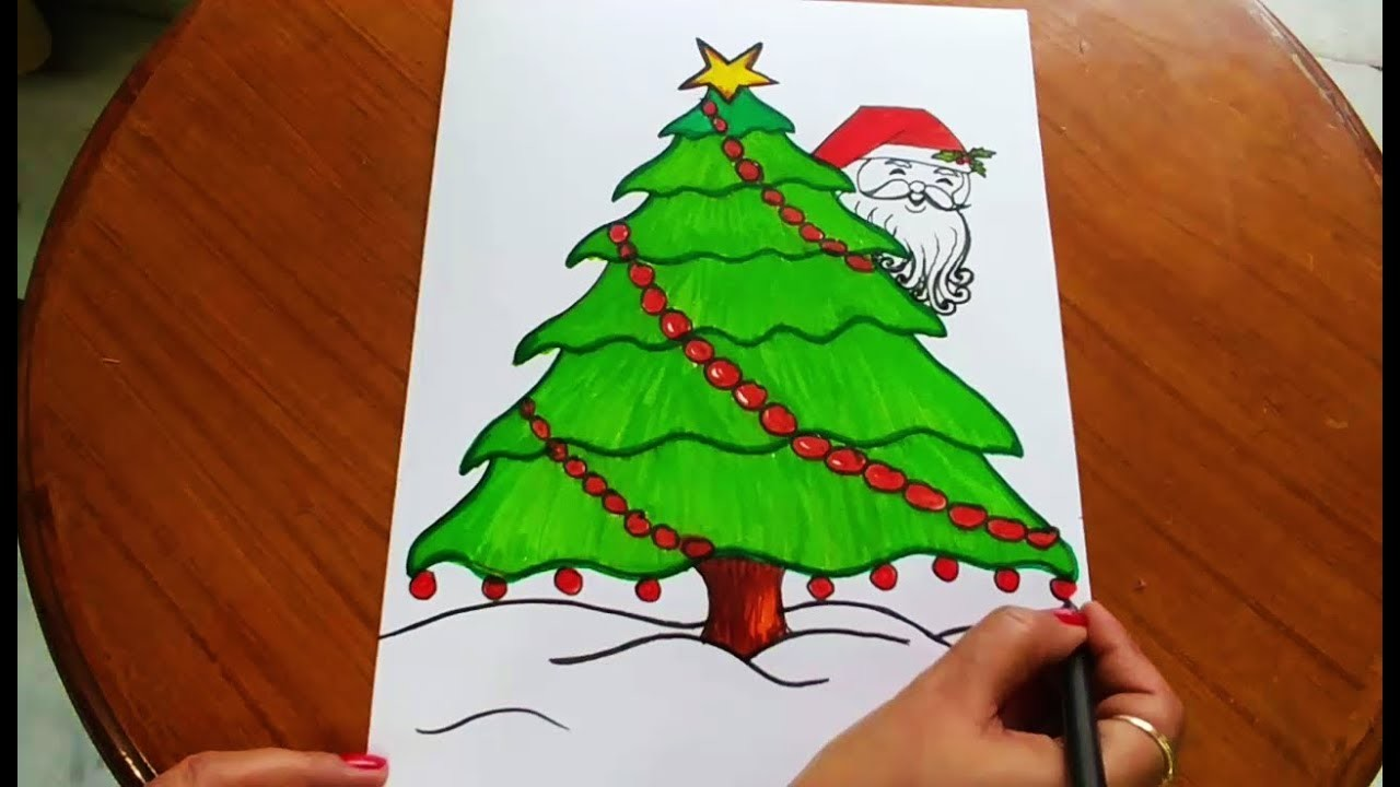 How To Draw And Color Easy Christmas Tree And Santa For Kids