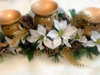 HOW TO MAKE A CHRISTMAS CANDLESTAND CENTERPIECE !???????? DOLLAR TREE