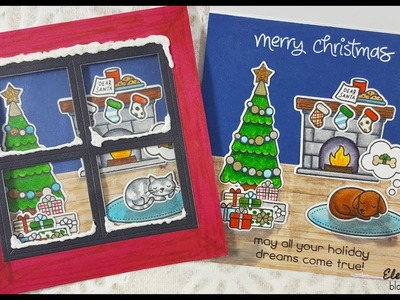 Lawn Fawn Christmas Dreams Window Card with Zig Clean Color Real Brush Markers