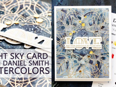 Night Sky Christmas Card with Daniel Smith Watercolors