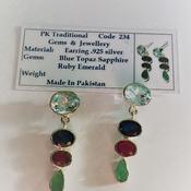 Topaz/Sapphire/Ruby/Emerald  Multi Stone Earrings