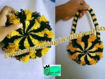 Woolen purse making with crochet weaving in different idea