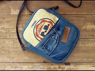 Bag from Recycled Old Jeans Tutorial Sewing Step by Step