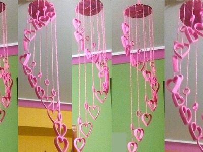 DIY Beautiful Wind Chimes with Plastic Bottles. Wallhanging using Woolen. plastic bottle craft