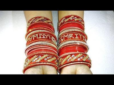 DIY Bridal Chuda | Handmade panjabi name chura | Red Bridal Chura | silk Thread Bridal Chura