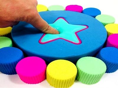 DIY How To Make Super Star Rainbow Cake Yogurt With Kinetic Sand