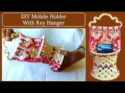DIY How to make wall hanging Mobile Holder with key hanger| Easy tutorial| must watch!!