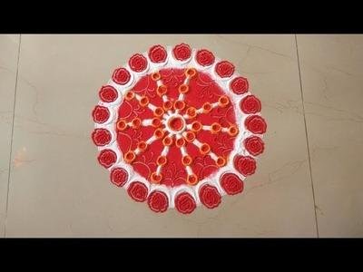 DIY | Quick and easy Rangoli making with tools for Diwali | Rose Rangoli