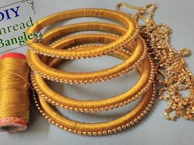 DIY |  Silk Thread Fancy Gold Color Side Bangles | Short Time Make A Bangles