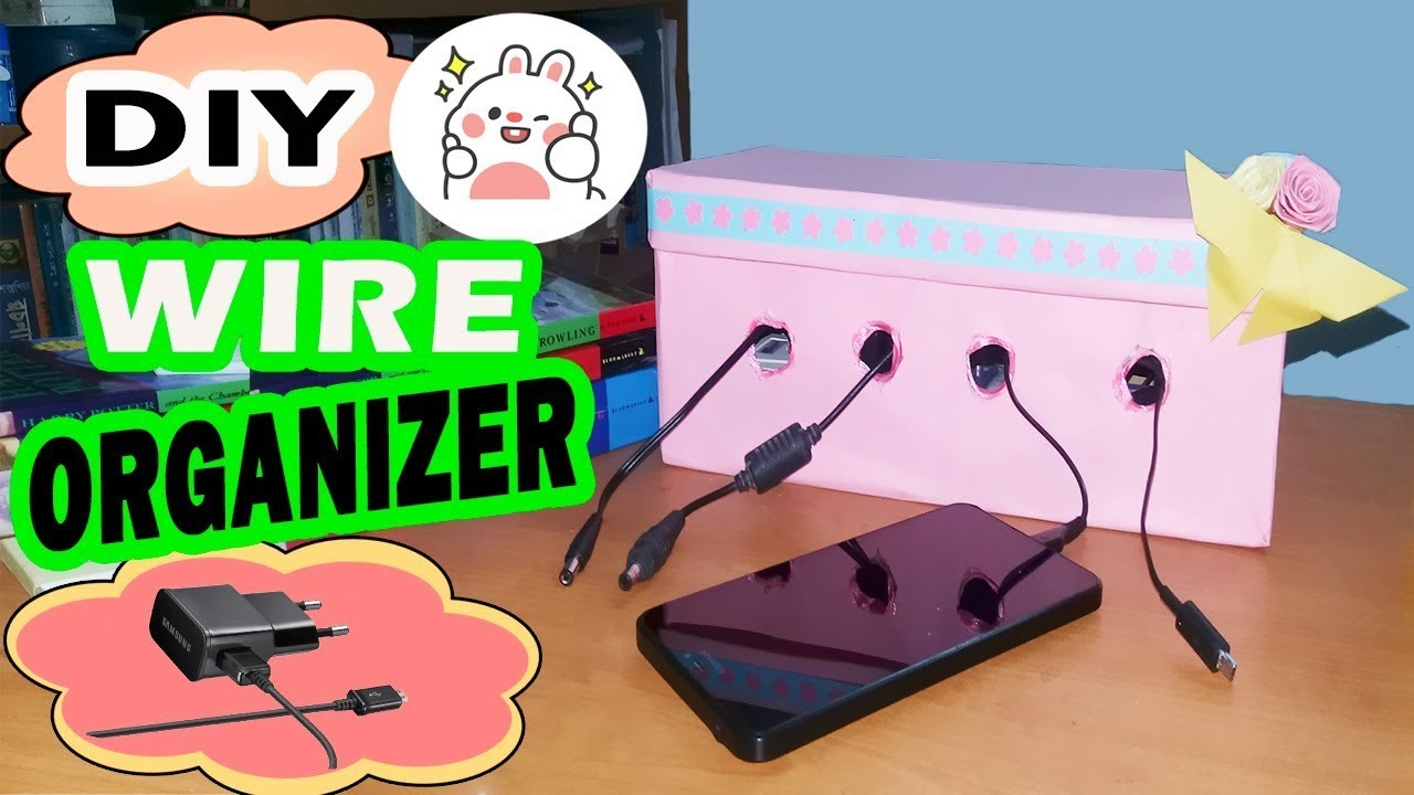 DIY Wire Organizer   How to make Charging Station with Shoebox