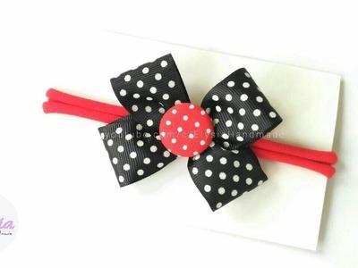 Headband Ideas : Minnie Mouse Headband With Grossgain Ribbon And Nylon Band   DIY by Elysia Handmade