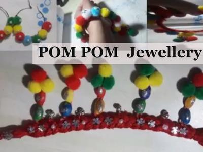 How to make pom pom jewellery||DIY NAVRATRI JEWELLERY|| pom pom earrings
