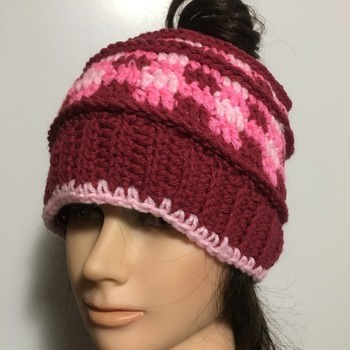Ladies Pink Plaid Messy Bun Beanie