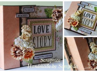 Love Story Mini Album | Trimcraft Love Story Papers | Handmade Scrapbook by Sampada