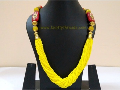 Making Of Designer Necklace Using Seed Beads | Meenakari Necklace Tutorial | www.knottythreadz.com