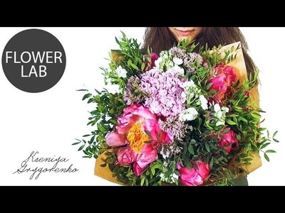 Нow to make Flower BOUQUET  MINI Flower bouquet  DIY with peonies CORAL CHARM Букет с пионами