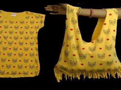 Old T-shirt to Bag, No sew DIY