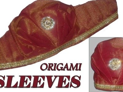 Origami designer Sleeves\ Bridal Sleeves Cutting and Stitching at Home || Sleeves Tutorial in Telugu
