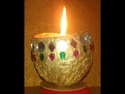 Out of waste. DIY diwali candles from waste coconut shell.