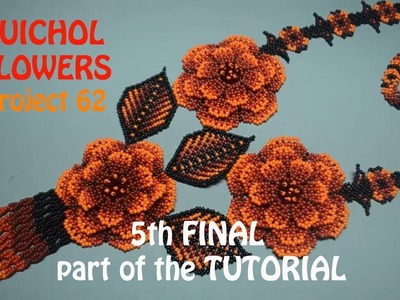 5th Final part of the tutorial: Red Huichol Flowers Necklace