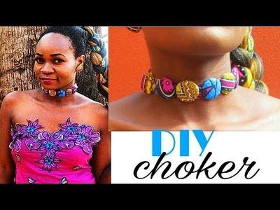 DIY Ankara Cover Button Choker+ How to make Cover buttons