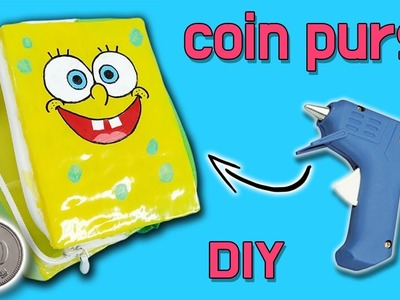 DIY)  Glue Gun Art Making A Coin Purse.  Sponge Bob Glue Gun Purse Tutorial