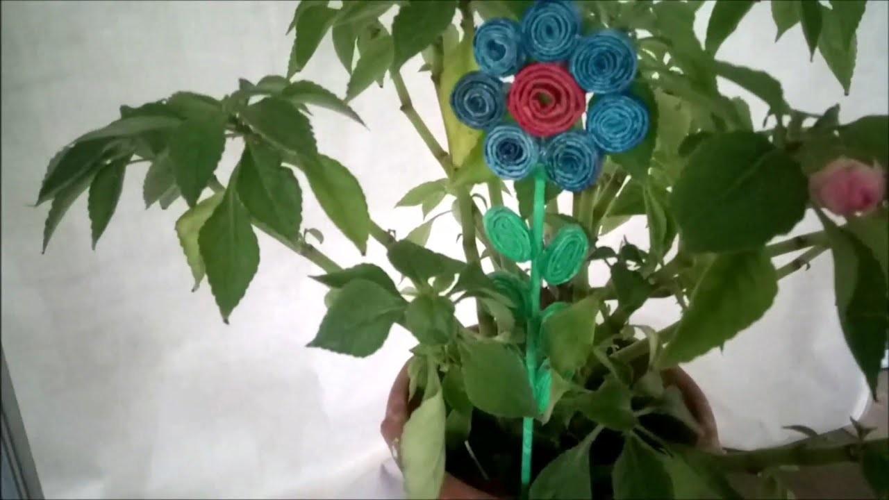 DIY How to make a decorative garden flower using plastic bag