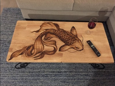 DIY - KOI FISH STAIN ART COFFEE TABLE - Upcycle old furniture!