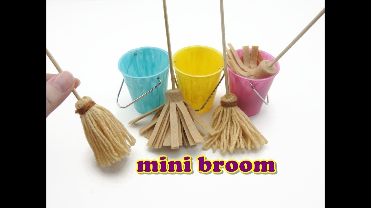 DIY Miniature Doll Accessories Mini Broom, Mop and Bucket - Easy