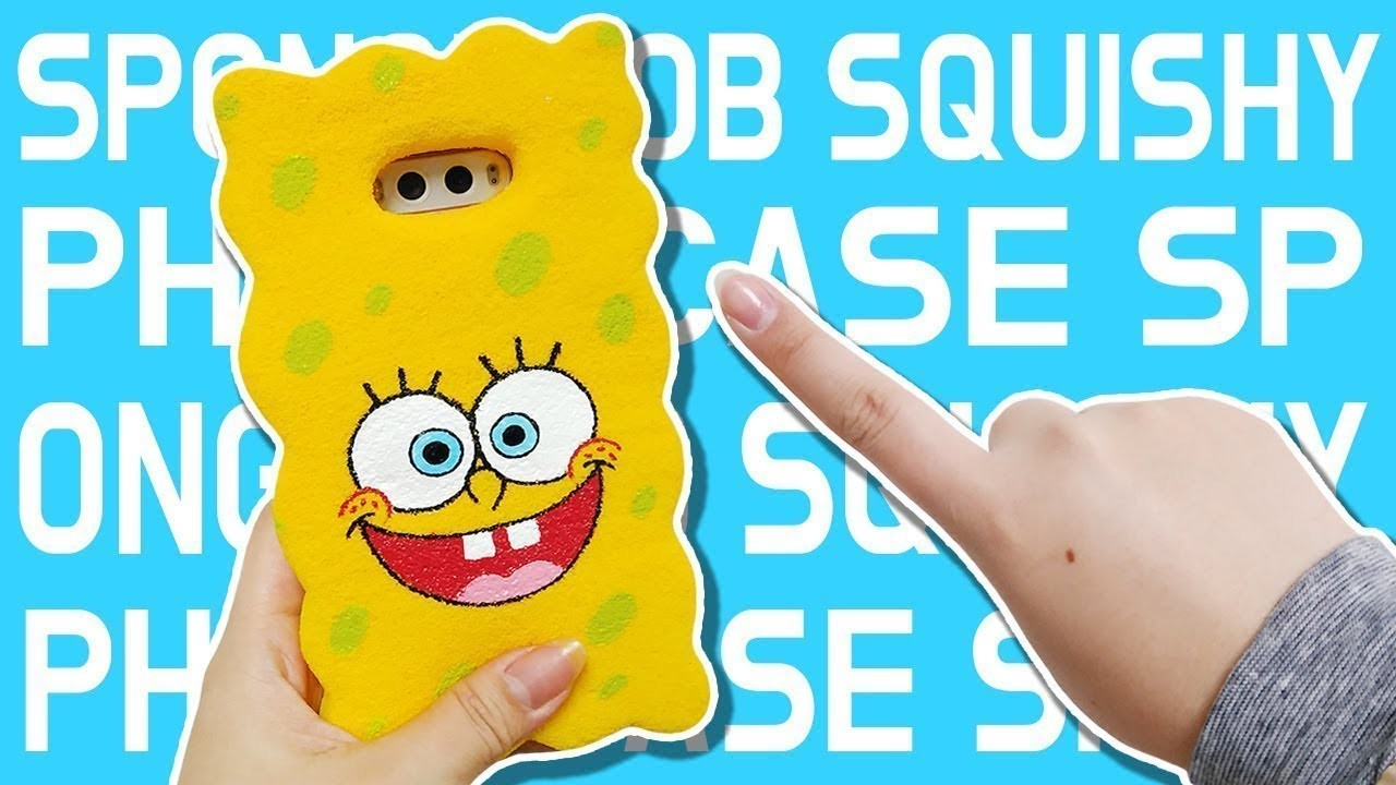 DIY) Squishy SpongeBob Cell Phone Case. Famous TV Show Character Squishy Phone Case, My Crafts and