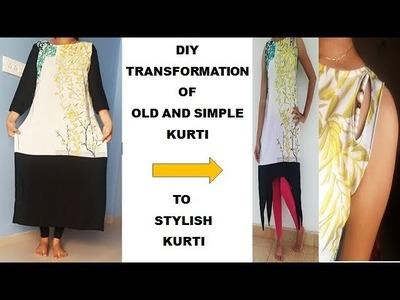 DIY transformation of old and simple kurti to stylish kurti