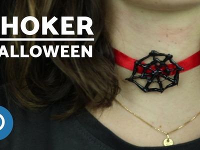 Easy DIY Spider Web Necklace - Halloween Necklace
