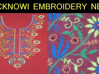 Embroidery.Lucknowi Embroidery Neck Design(PART 1)Chikankari Embroidery tutorial#41