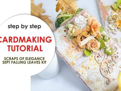 ♥FLORAL CARD♥ CARDMAKING TUTORIAL. How to make a Floral Card. Scraps Of Elegance September Kit