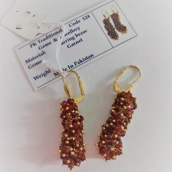 Garnet Fringe Drop Earrings in .925 Silver