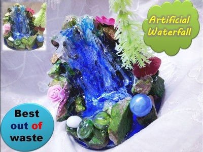 Hot glue waterfall tutorial. Best out of waste waterfall.Table Decoration