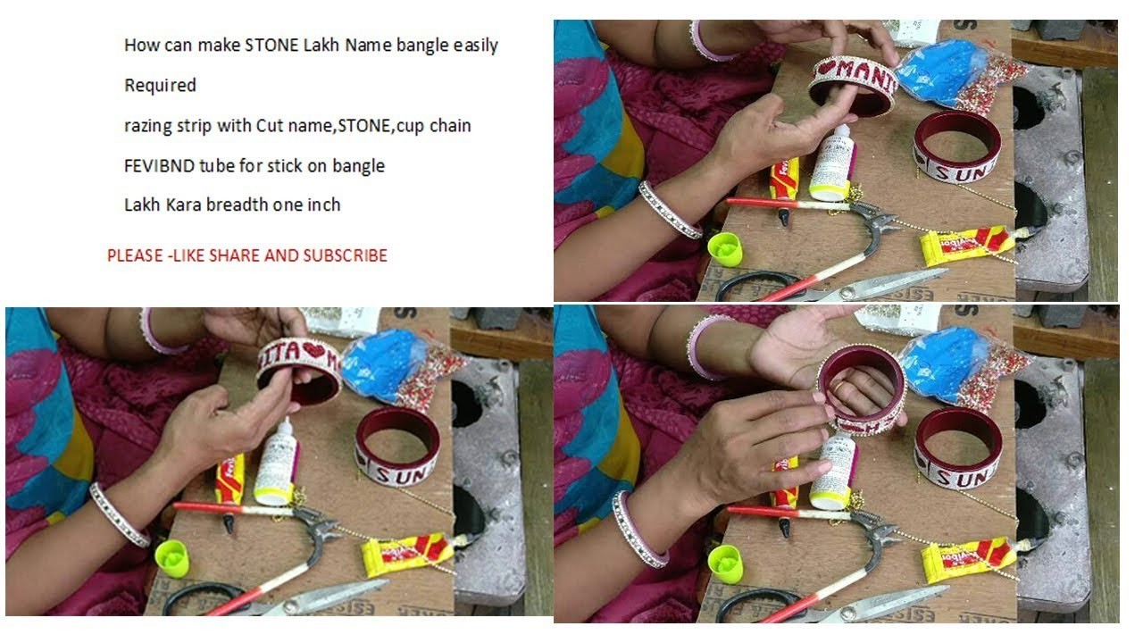 How to make name Bangles at Home Pure lakha stone studd Tutorial