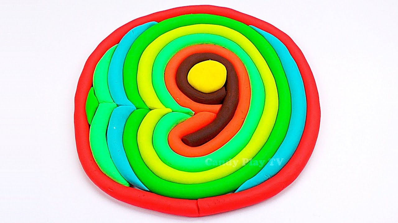 How to make Number Nine DIY with Play Doh for kids   Learn colors for kid toddlers, children, babies