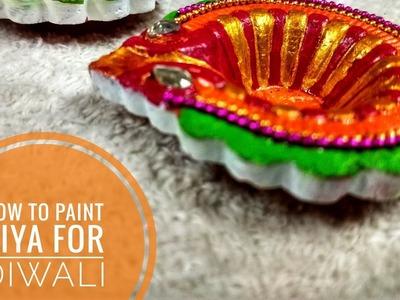 How to paint Diya for Diya # colour fulldiyas # kids tutorial