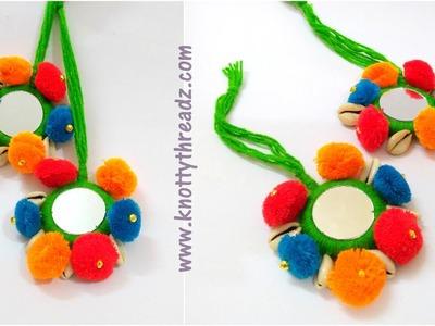 Latkans | Colourful Mirror Pom Pom Latkans | Tassels for Lehengas| Tutorial | www.knottythreadz.com