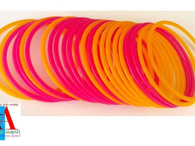 Making of Designer Plastic Silk Thread Side Bangles tutorial. Simple and easy bangles making