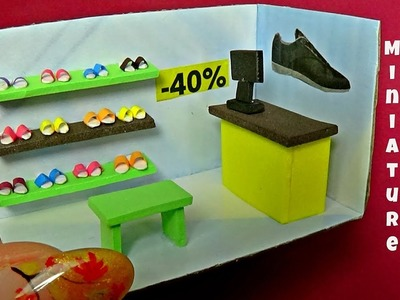 Miniature shoes store diy │ How to make a miniature shoes store │ Doll Stuff
