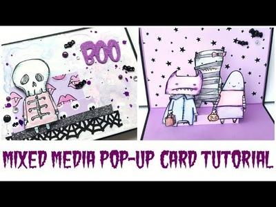 Mixed Media Pop-up Card Tutorial | Halloween Happy Mail Series Episode #7 | Serena Bee Creative