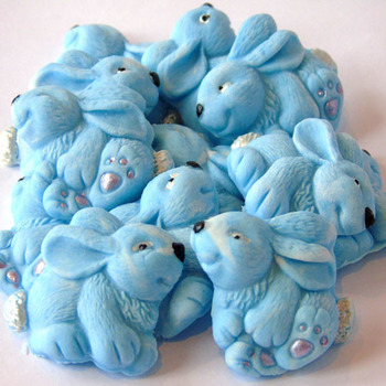 12 Blue Edible Easter Rabbits Baby Shower Cupcake Decorations