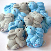 12 Edible Blue Grey Easter Baby Rabbits Baby Shower Cupcake Toppers